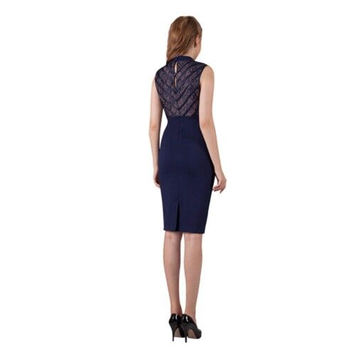 Classic style fitted dress, available in navy and black.