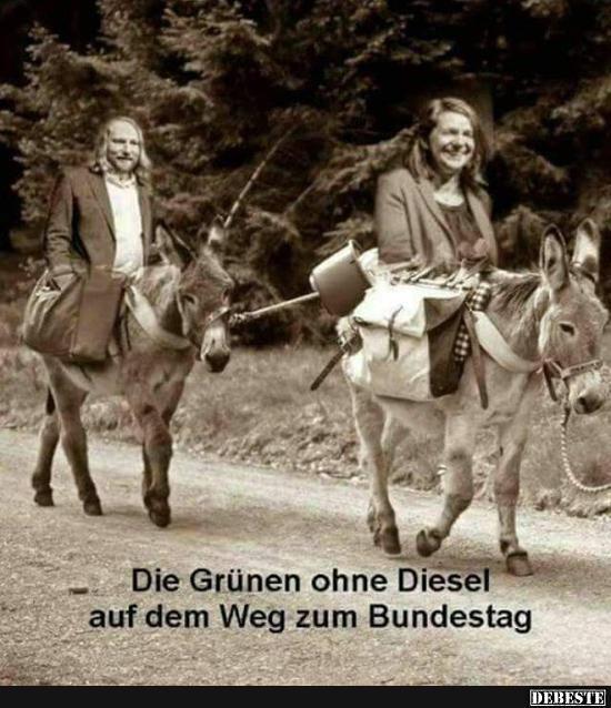 Die grünen ohne Diesel auf dem Weg zum Bundestag.. | Lustige Bilder, Sprüche, Witze, echt lustig