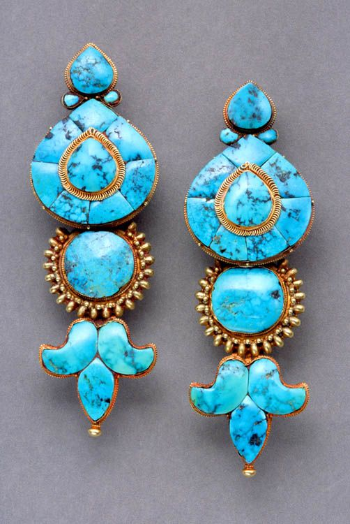Tibet | Noblewoman's gold and turquoise temple pendants. Tibet, Lhasa; early 20th c. Height: 13.6 cm. Gold, turquoise. Shown in Truus Daalder, *Ethnic Jewellery and Adornment*, p. 282 (described pp. 282-3). www.ethnicartpres...