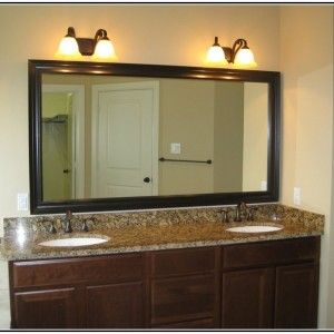 Pic On Modern Bronze Bathroom Light Fixtures At Lowe us u Twin Crystal Lamps Above The Large Mirror u