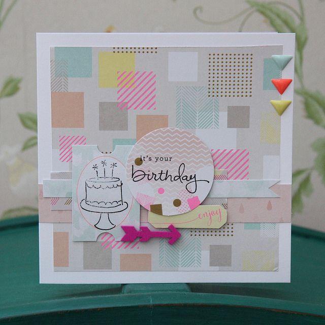 Geometric Neon birthday cake card by StickerKitten