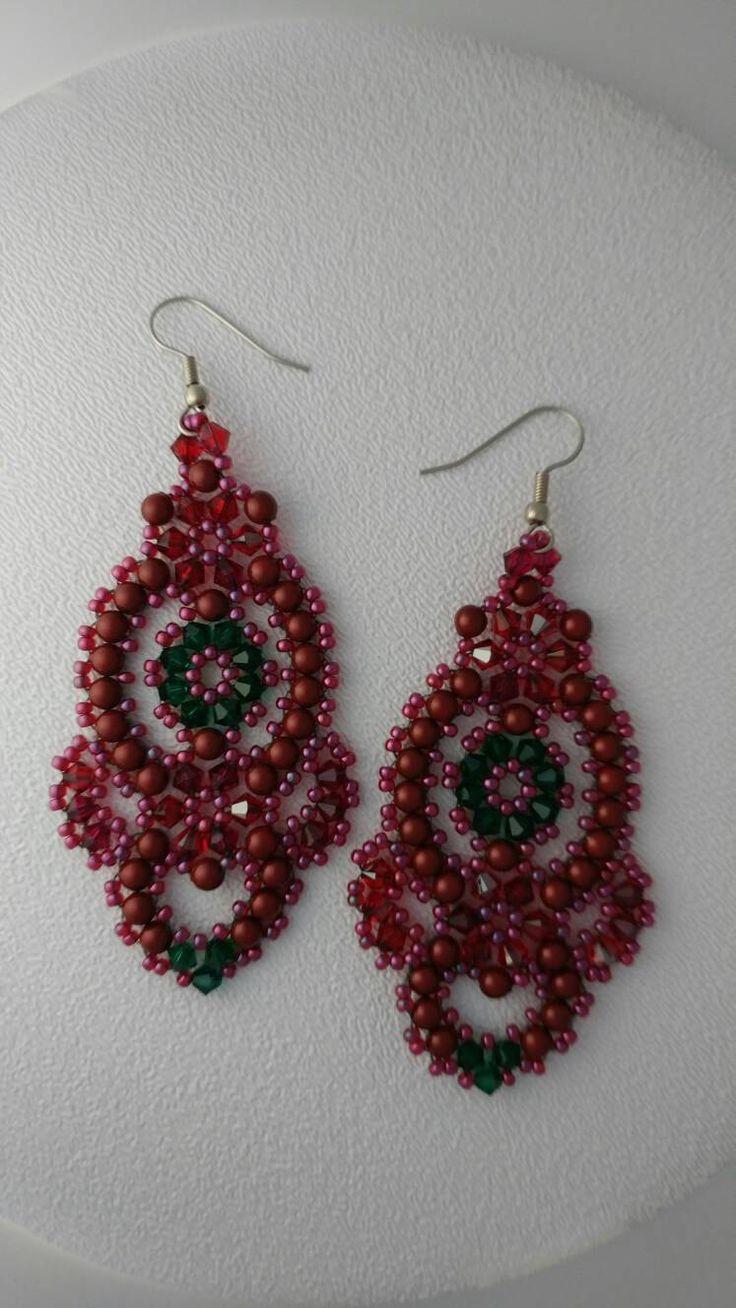 Beaded Dangle Earrings In Dark Red And Green By Carmelinasjewelry