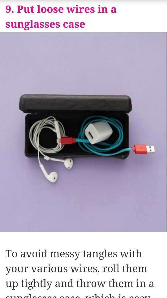 Put headphones or chargers in a sunglasses case