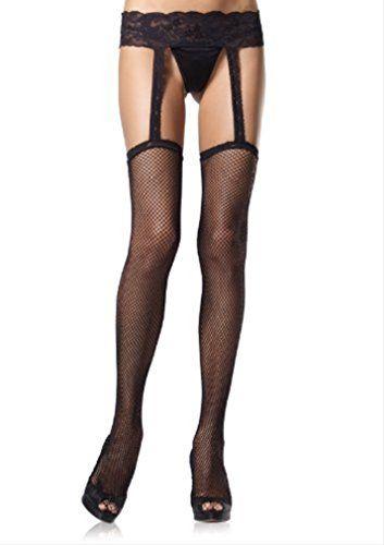 Fishnet Garter Belt Stockings Plus Size BLACK * Visit the image link more details.
