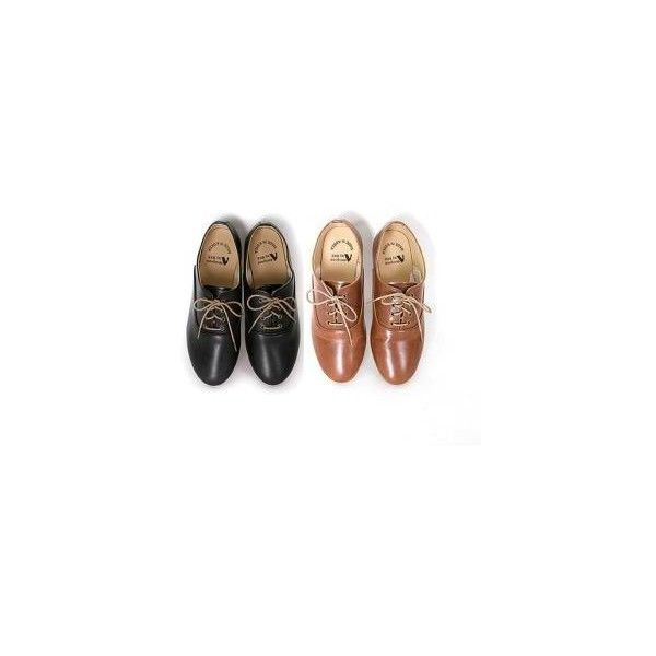 Faux-Leather Oxfords (£44) ❤ liked on Polyvore featuring shoes, oxfords, flats, footware, vegan oxford shoes, brown flats, brown flat shoes, black shoes and flat pumps