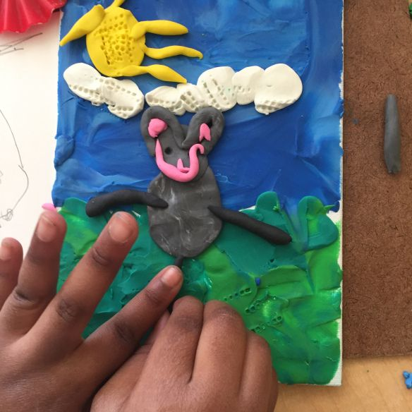 In the Art Studio: plasticine art inspired by Barbara Reid. Story writing inspired by artwork! Kindergarten provocations