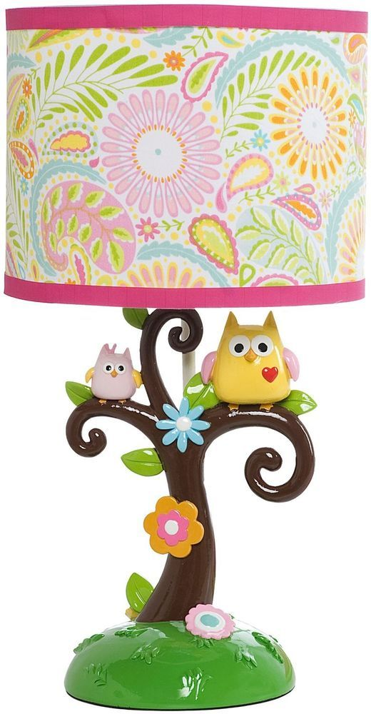 Happi Tree Lamp Base and Shade, Pink Nursery Baby Decor ,Girl, owl, Bedroom #Kidsline