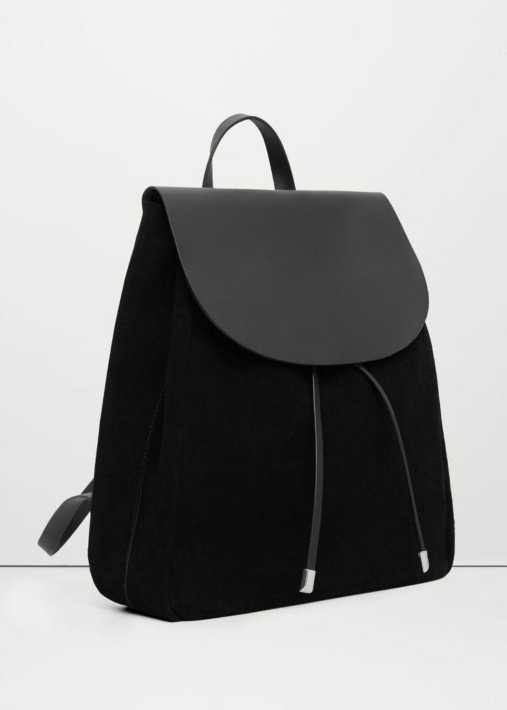 Lapel leather backpack | MANGO
