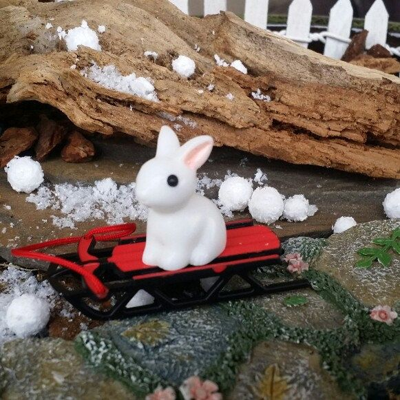 It looks like the fairies White Rabbit has taken a ride on the sled!! Too cute!!! The sled and the rabbit are both available in my shop
