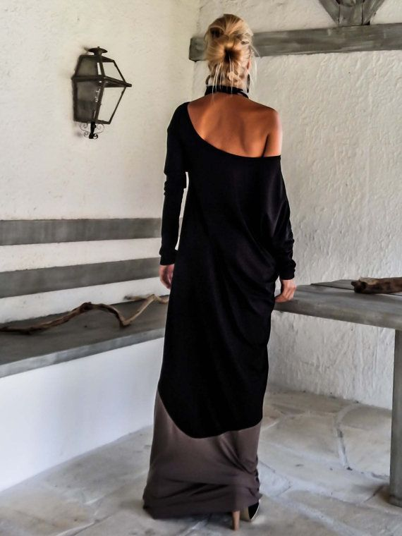 Black & Light Brown Maxi Dress / Black and Brown by SynthiaCouture
