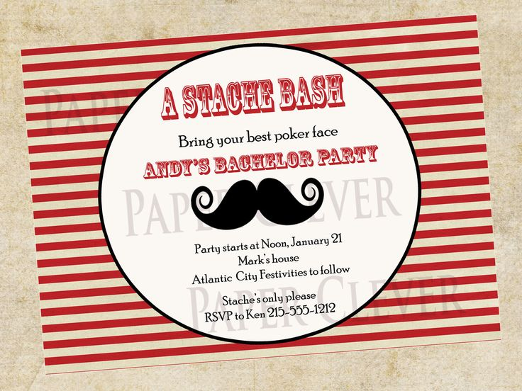 bachelor party invitation stache bash mustache party invitation digital file 1200 via etsy - Mustache Party Invitations