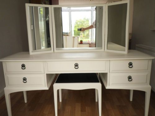 white-5-drawer-dressing-table-stag-minstrel-stool-mirror-shabby-chic-vintage. Painted Stag furniture
