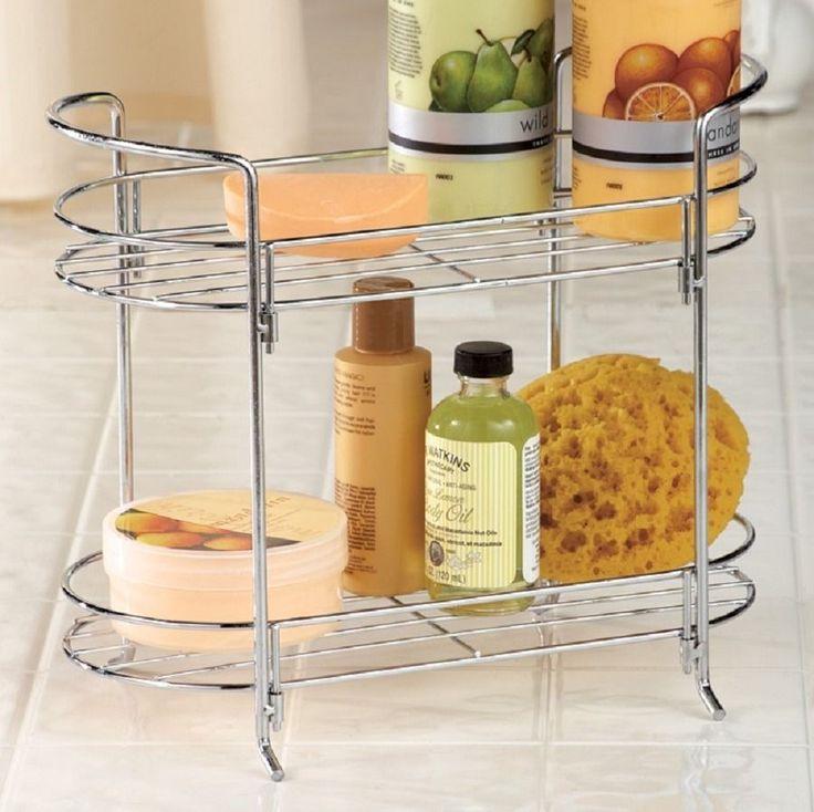 2 Tier Double Bathroom Countertop Storage Rack Holder Metal 10 14 Simple Bathroom Countertop Storage Design Ideas