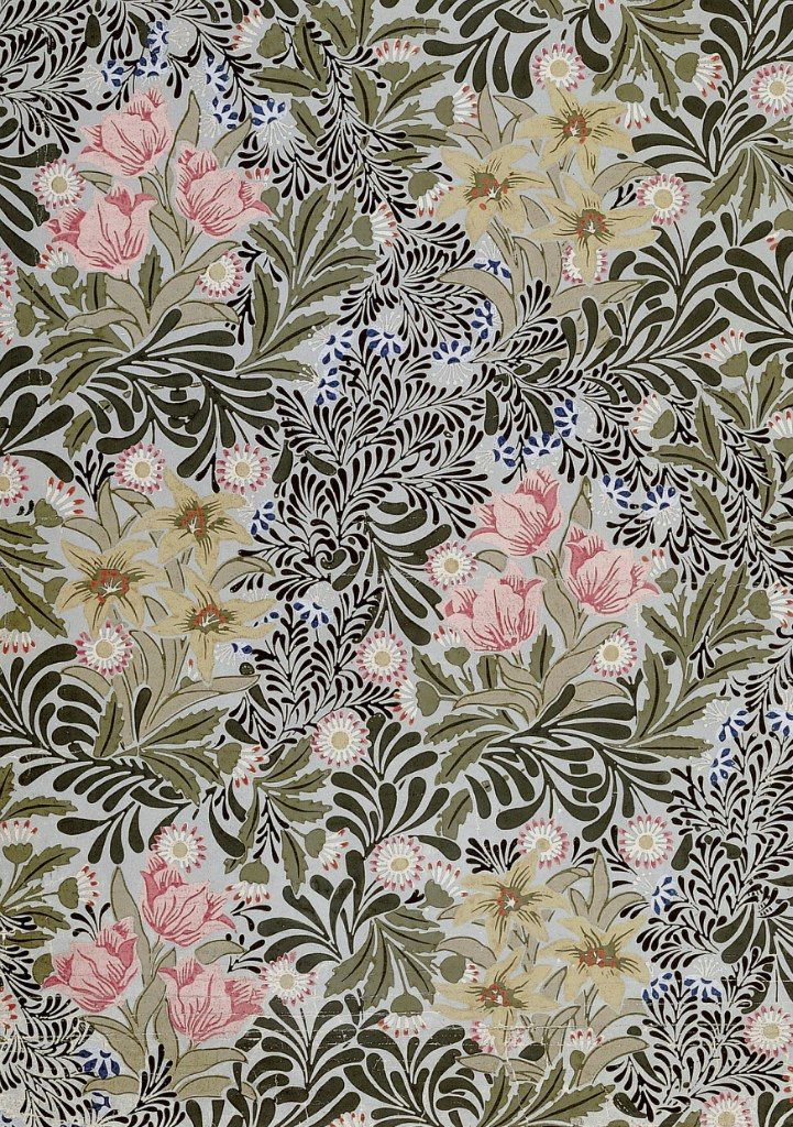 William Morris, Bower wallpaper. Block-printed paper (1877)