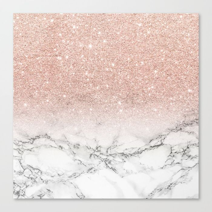Buy Modern Faux Rose Pink Glitter Ombre White Marble Canvas Print By Girlytrend Worldwid Rose Gold Wallpaper Rose Gold Glitter Wallpaper Gold Marble Wallpaper