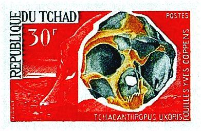 Tchad, ?   Tchadanthropus uxoris (=Homo erectus) skull (Tchadanthropus Uxoris Fouilles Yves Coppens)   30 Fr