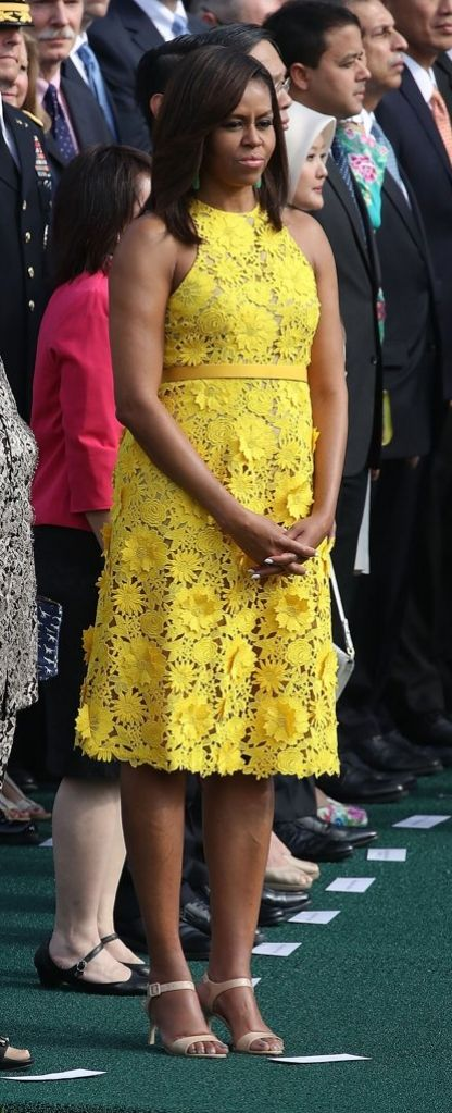 Michelle Obama's lace dress will inspire you to wear more yellow.