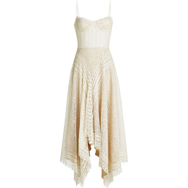 Alexander McQueen Lace Dress ($6,150) ❤ liked on Polyvore featuring dresses, white, corset dresses, white lace dress, scalloped dress, lacy dress and alexander mcqueen dresses