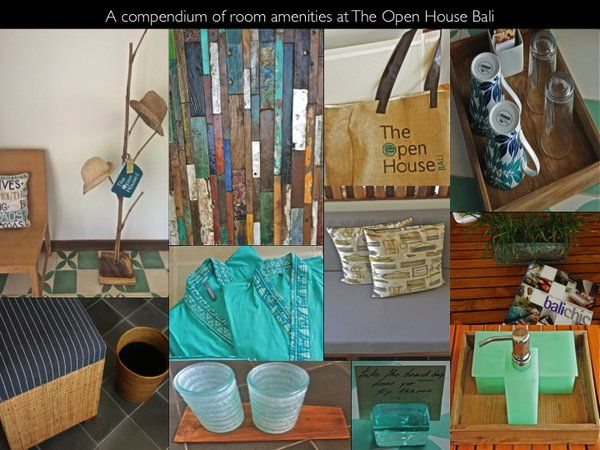a colorful compendium of room amenities at The Open House Bali