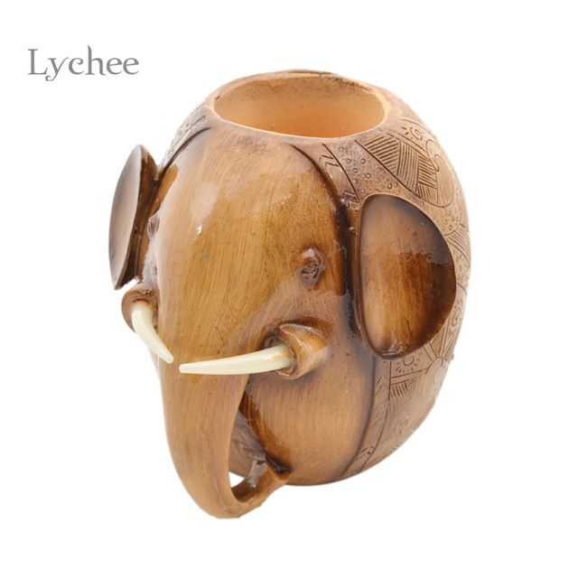 1 Pezzo Creativo Scultura In Legno Elefante Matita Supporto Della Penna Del Mestiere Intagliato Artigianato In Legno