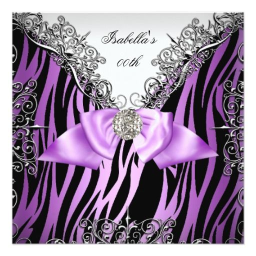 404 best images about Purple Black Birthday Party Invitations on – Zebra Party Invitations