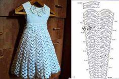 Cantinho da Jana: Gráfico de vestido infatil de crochê ❤️LCK-MRS❤️ with diagrams                                                                                                                                                      Mais