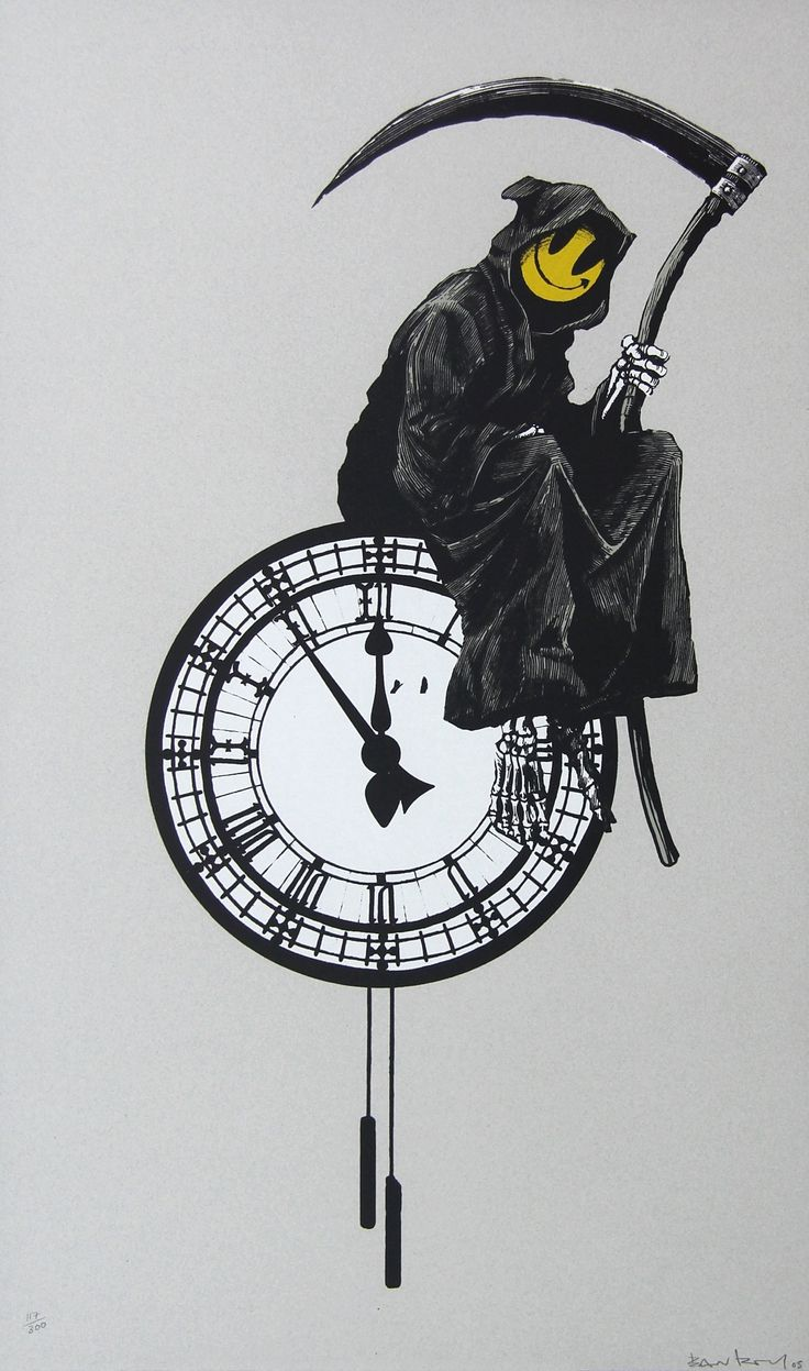 """Grin Reaper"" - #Banksy - Arty-Fact:  The Grin Reaper print was released in 2005. Unusually for Banksy prints of this time, every one was signed. 'Grin Reaper' juxtaposes the figure of the Grim Reaper sitting on a clock, suggesting the 'memento mori' (remember that you can die) concept – and the iconic 'Smiley' face. One of the most recognizable logos in Western society, the 'Smiley' face is associated with the sphere of synthetic drugs - and the idea of positivity and optimism…"