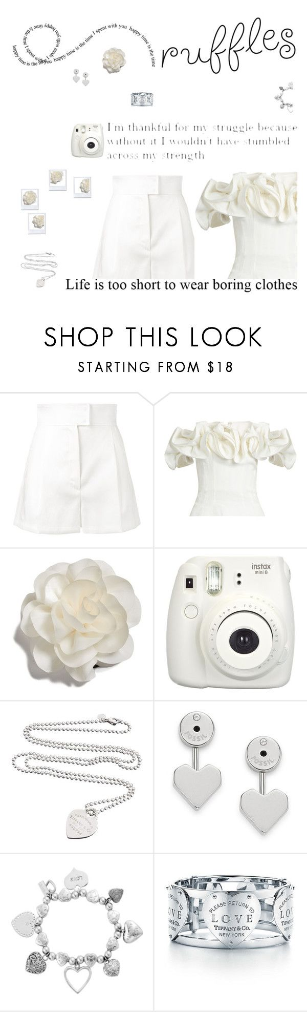 """Ruffles"" by dory-speaks-whale ❤ liked on Polyvore featuring Barbara Casasola, Brock Collection, Cara, Fujifilm, Tiffany & Co., FOSSIL and ChloBo"