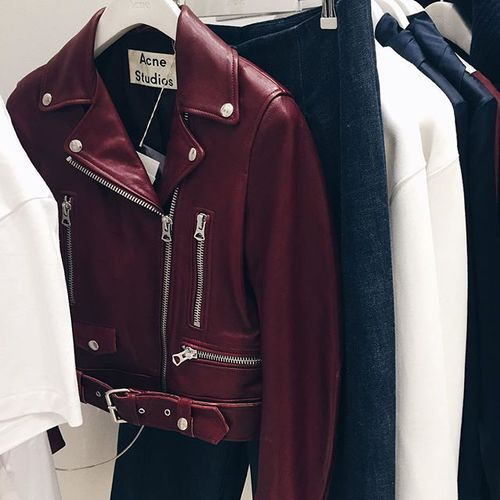 wine leather jacket #acnestudios