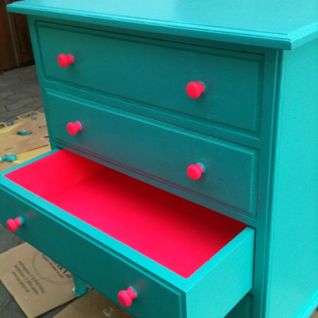 Popular Painted Furniture Colors. Turquoise Dresser With Neon Pink Accents    Paint Contrasting Colors Popular