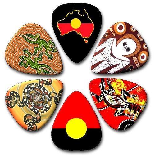 6 Aboriginal Designs ~ Guitar Picks ~ Plectrums ~Plectra  *PRINTED BOTH SIDES*