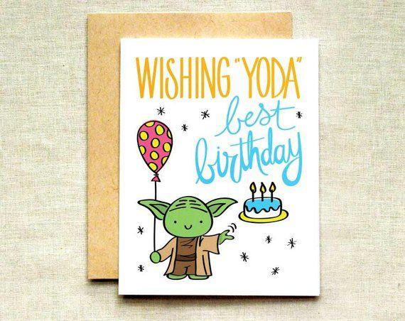 Yoda Birthday Card Star Wars Birthday Card Happy Birthday To