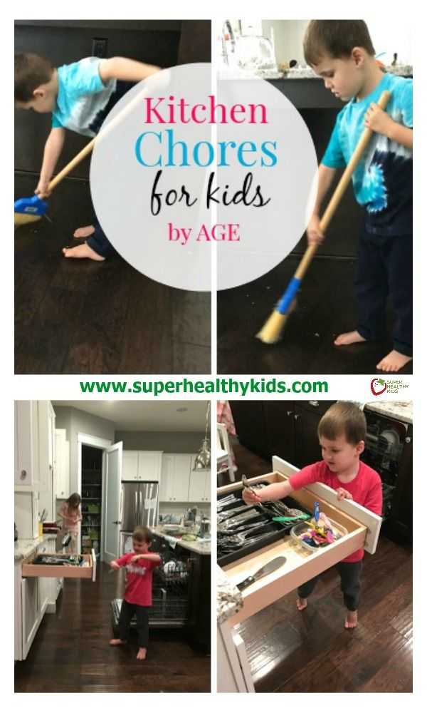 Kitchen Chores for Kids by Age. Ever wonder what chores are age appropriate for your kids? Our guide can help you! www.superhealthykids.com/kitchen-chores-kids-age