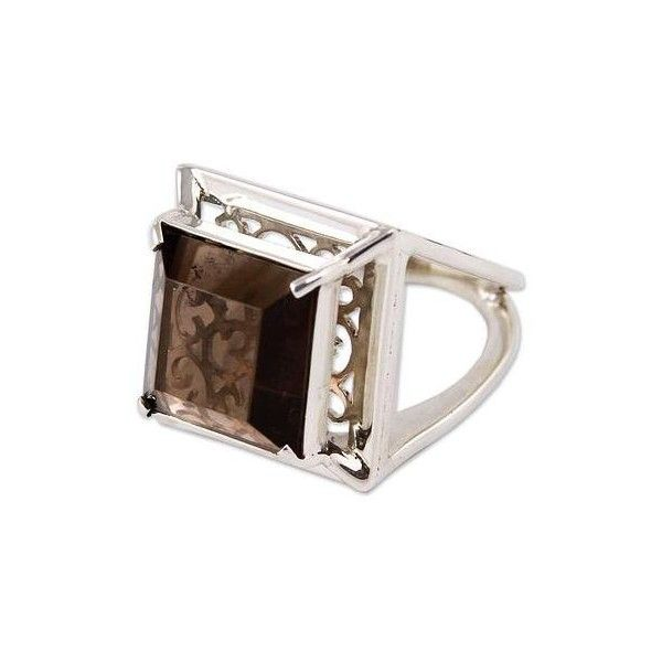 NOVICA Artisan Crafted Smoky Quartz Ring Peru Jewelry ($135) ❤ liked on Polyvore featuring jewelry, rings, clothing & accessories, cocktail, smoky quartz, smoky quartz jewelry, smokey quartz jewelry, smoky quartz rings, special occasion jewelry and crown ring