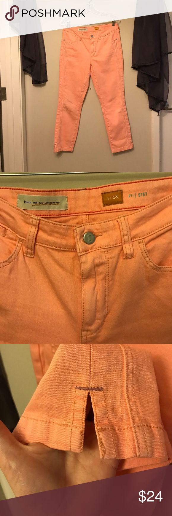 Bright Coral Jeans by Pilcro & the Letterpress These jeans are in excellent used conditions. They are a bright light neon coral color. Like a vibrant salmon coral pink. They are by Pilcro and the Letterpress which is sold at Anthropologie. These are the Stet fit. Anthropologie Jeans