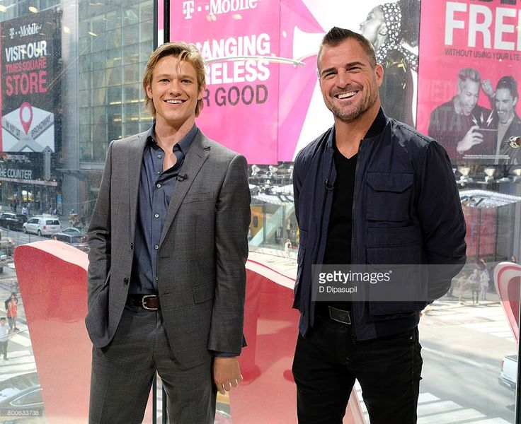 Lucas Till (L) and George Eads visit 'Extra' at their New York studios at H&M in Times Square on September 8, 2016 in New York City.
