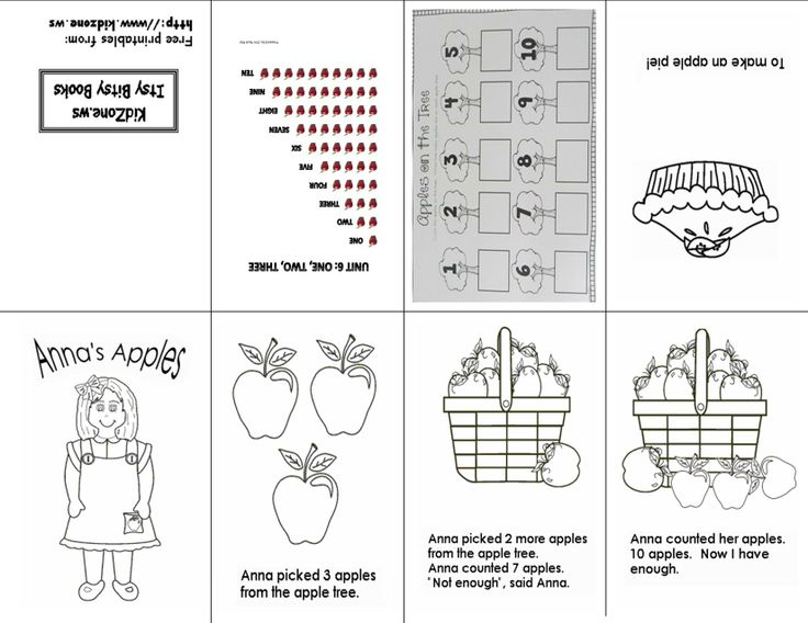 Counting Apples 1 10 One Sheet Printable Mini Book Free