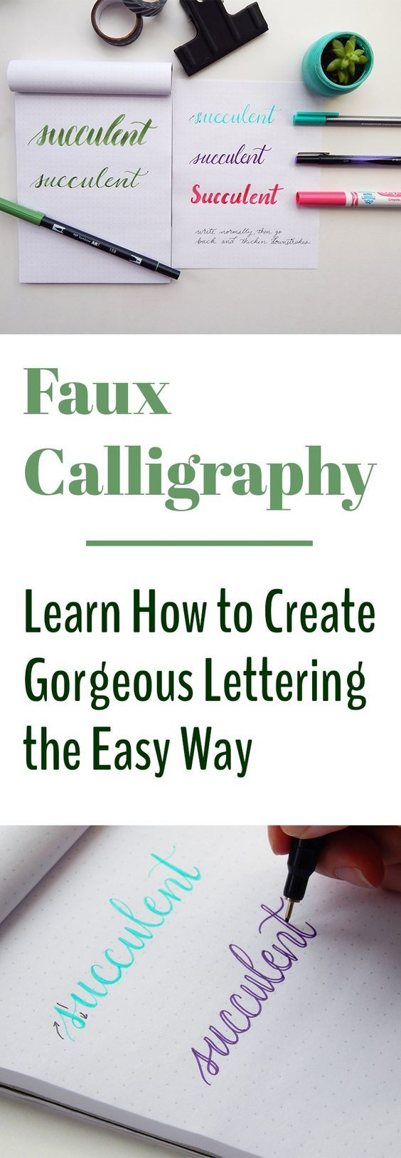 Looking at all the images of beautiful lettering online, it can be a bit daunting to get started. Where do you even begin? What materials do you need? With faux calligraphy, you can learn the basic principles of calligraphy without buying expensive materials or spending hours with a drill book. This technique is easy to pick up and hard to put down!