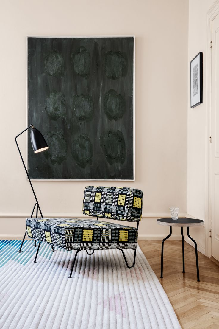 GUBI // Grasshopper Floor Lamp, Modern Line Side Table, GT Lounge Chair