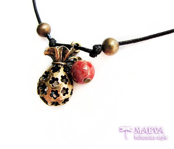 #Bohemian #necklace with potty charm and #jade  #gemstone by MaevaBohemianStyle