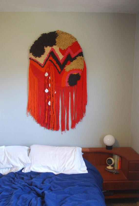 Vintage Colorful Fiber Art Wall Hanging via Etsy