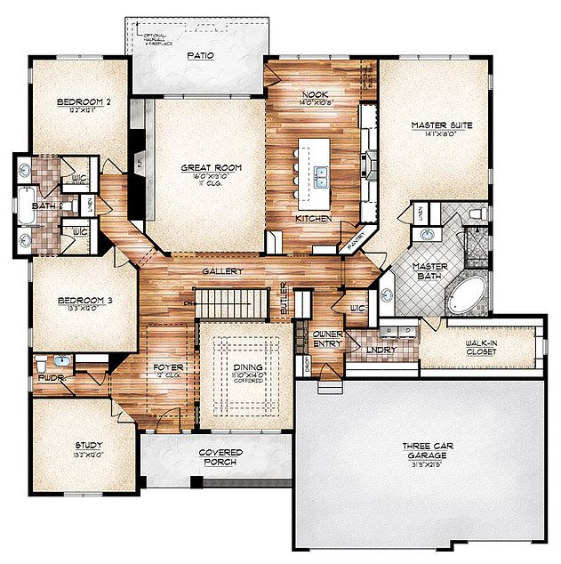 I love this plan!!!(The Durango model plan features a compelling foyer and gallery create a memorable entrance to this ranch-style home featuring graceful arches)