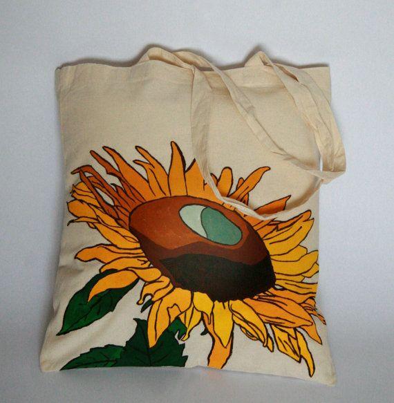 Sunflower Floral Decorative Cotton Tote Bag by FennekArtDesign