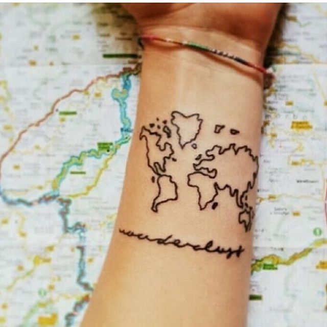 The 162 best travel tattoo images on pinterest tattoo ideas cute world map wrist tattoo gumiabroncs Image collections