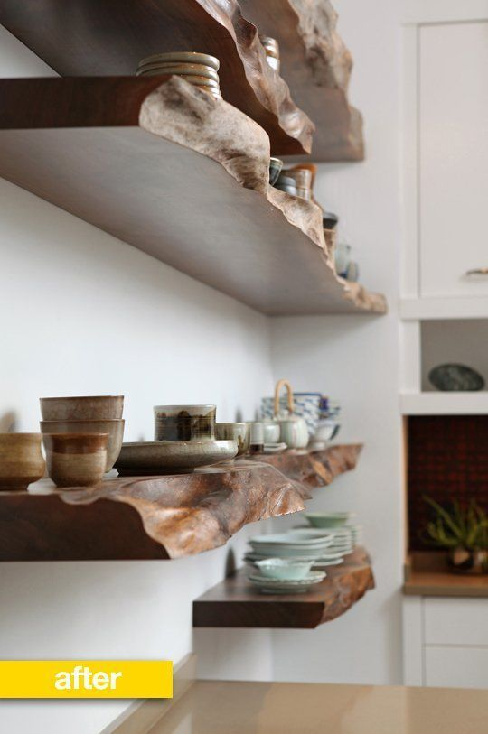 """""""Love these shelves! These raw edge wood shelves were constructed from a gorgeous and very old piece of wood."""