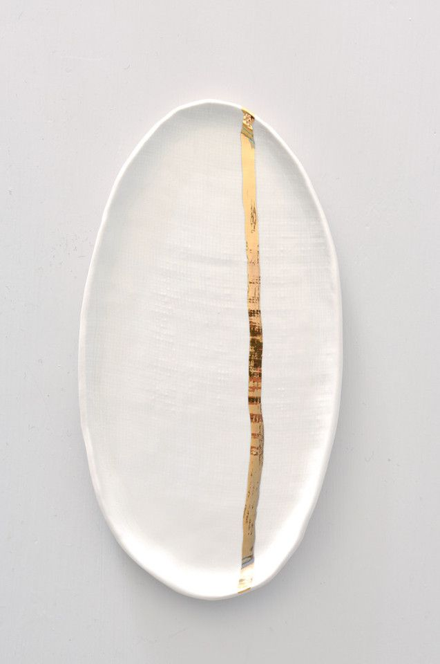 Burlap Platter with Gold Stripe by Suite One Studio