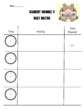 Elapsed time can be such a difficult concept to teach! This product is meant to be used after reading Scaredy Squirrel by Melanie Watt. Students will invent their own activities for Scaredy to complete, with times for each. Students will then have to figure out how much time has passed between each activity.