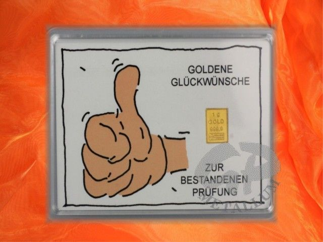 1 g Goldbarren mit einem Bildmotiv & Text: Goldene Glückwünsche zur bestandenen Prüfung in einer Kapsel incl. Zertifikat http://www.gp-metallum.de/1-Gramm-Gold-Geschenkbarren-Motiv-Bestandene-Pruefung