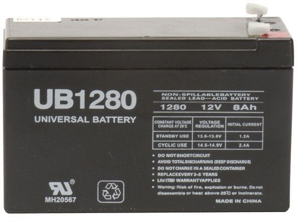 upg - sealed lead acid batteries (12v; 8ah; .187 tab terminals; ub1280)