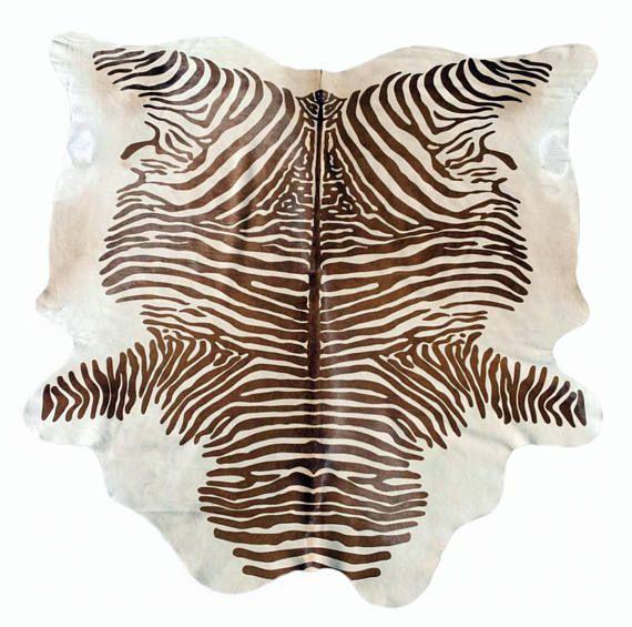 Zebra Cowhide Rug African Animal Print Leather Fur Area